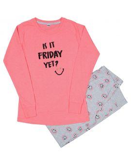 Meisjes pyjama Neon roze