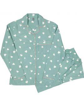 Dames flanel pyjama Lichtgroen