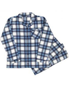 Heren flanel pyjama Nachtblauw
