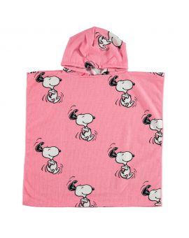 Snoopy Kinder poncho Roze